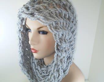 Gray silvery scarf head neck wrap