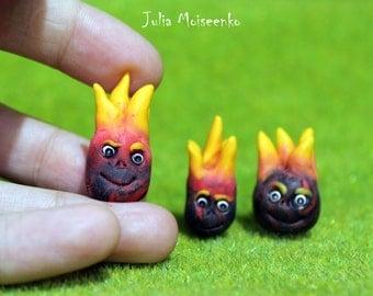 Coal Fire Spirit - Polymer Clay Figurine - Fantasy Creature - Fairy Decor - Spirit Totem Figurine - Polymer Clay Sculpture