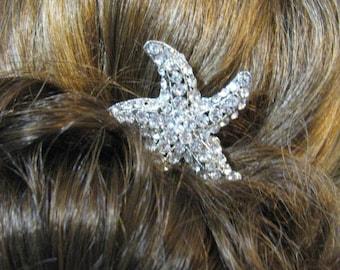 Hair Comb, Bridal Hair Comb, Bridal Comb, Rhinestone Comb, Hair Accessory, Bridal accessory, Rhinestone Hair Comb, Star Fish Beach Theme