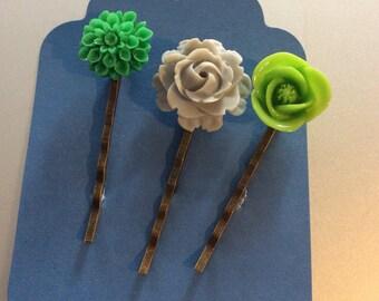 Green gray bobby pins ~hair pins set of 3 handmade hair pins Dalia Rose 2 Green 1 gray cabochons