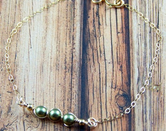 Peas In A Pod, Peas In A Pod Bracelet, Petite peas in a pod Bracelet, Layering Bracelet, Gold Filled, Select up to 5 peas