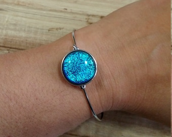 Fused glass dichroic snap bangle bracelet one size metal