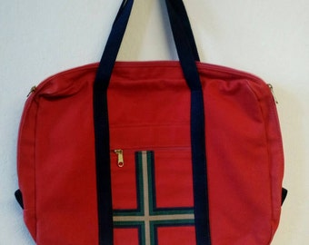 Accessories Unlimited of Maine Red Briefcase Canvas Bag Navy Handles