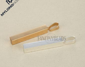 Custom stainless steel cuboid pendant--Your logo or words here--50 pcs- four sides engraved charms-G1748--gold silver steel three colors