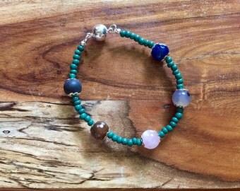 Samantha Bracelet in Forest and Jade. Gemstone jewelry semiprecious stones natural boho bohemian jewellery beaded brazilian blackstone gypsy