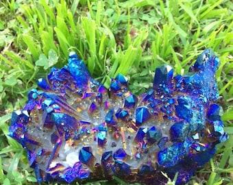 FLAME AURA, spirit quartz, aqua aura, rainbow titanium crystal, minerals, healing crystals