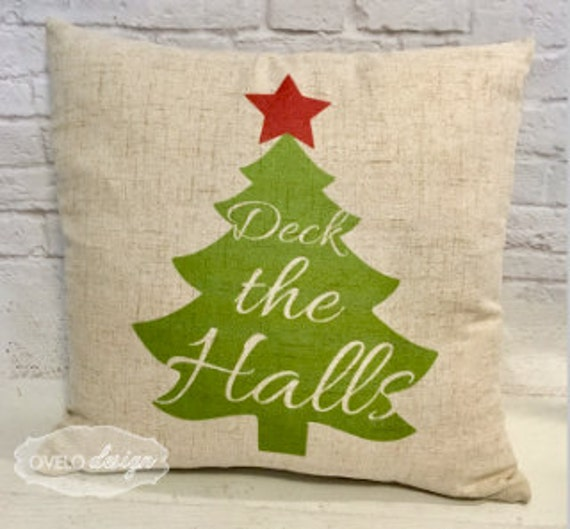 Christmas Tree Trow Pillow Linen Style Pillow