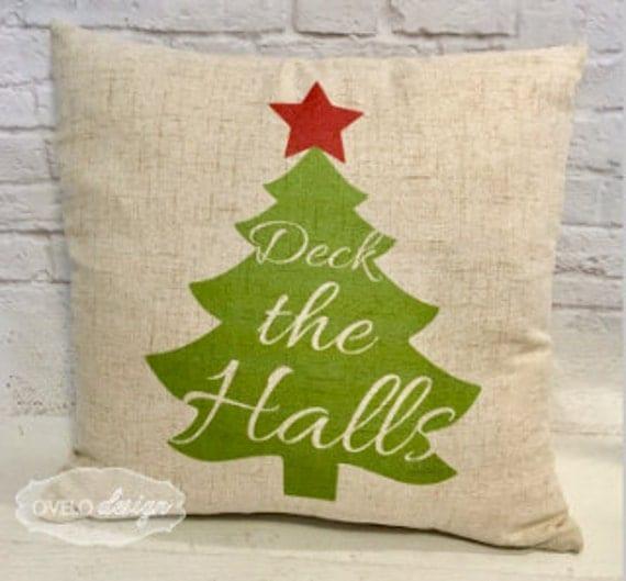 Christmas Tree Trow Pillow Linen Style Pillow