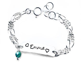 Design Your Own Sterling Silver Bracelet. Infant to Adult Sizes. Stamped with a name, date, medical condition, scripture etc...