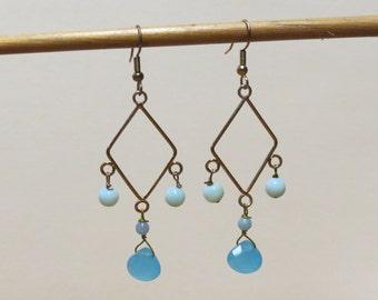 SALE Chalcedony blue quartz and blue amazonite golden diamond shaped gemstone earrings.   #EAR-013