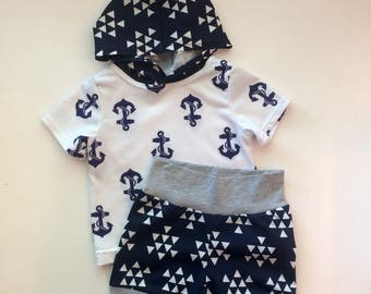 Nautical, Anchor, Blue and White, Navy and White, Gender Neutral, Modern, Boy, Girl, Two Piece Child Clothing Set