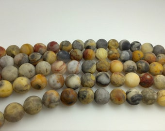 6mm / 8 mm / 10mm / 12mm / 14mm Round Matte Crazy Agate 15''L, 38 cm Loose beads Semiprecious Gemstone Bead Wholesale Beads Supply
