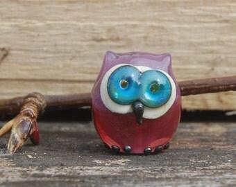 Owl bead,  lampwork glass bead owl, Studio Special