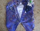 Dog Tuxedo Vest Blue Brocade