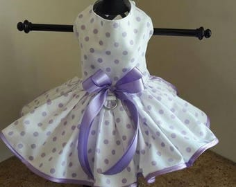 Dog Dress  White with lavender polkadots and trim