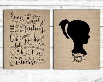 Unique Mom Gift | Personalized Child Silhouette | Mom Inspirational Art | Rustic Burlap Kid Silhouette | Gift for Wife | Children's Portrait