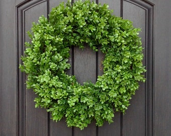 Spring Wreath Summer Wreath Grapevine Door Wreath Boxwood-Use Year Round