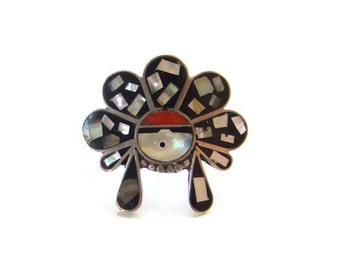 Vintage Sterling Silver Inlay Zuni Sun Face Ring with Headdress Coral Abalone Onyx Size 8 Southwestern