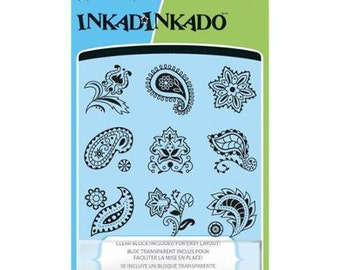 Inkadinkado Clear Stamp Set with Stamping Block - Inchies - Crazy Paisley