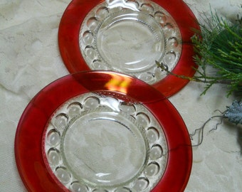 2 Kings Crown Ruby Flash Thumbprint Dessert Plates-8 1/2""