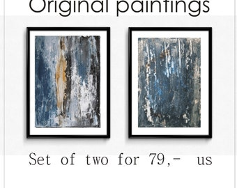 painting rustic blue colors  abstract  painting  nice wall art by  jolina anthony signet  express shipping