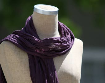 Cotton Voile Summer Scarf, Lightweight Summer Accessory, Sheer Cotton Scarf, Deep Purple Scarf, Pure Cotton, Boho, Natural Fiber, Long Scarf