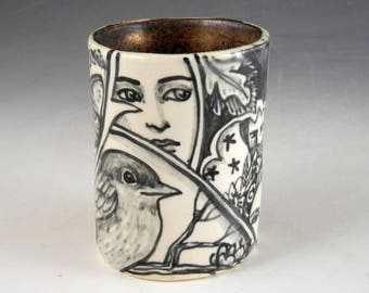 Story cup in black white and gold OOAK with bird, faces and cat demitasse tea cup