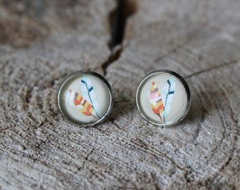 Petites merveilles plume // Cute  glass cabochon feather  (BO-869)