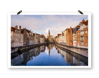Canal in Brugge, Brugge Belgium, Fine Art Photography Europe Print, Landscape Photos, Bruges, City Photography, Church Wall Art, Water Print