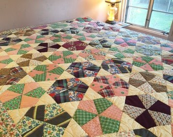 Antique Vintage Improved Nine-Patch Quilt FANTASTIC Mid-Century FABRICS Gorgeous