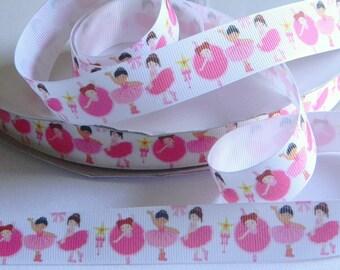 "Ballerina Grosgrain Ribbon 5 yards of White with Ballerina Print 7/8"" Ribbon for Hair Bows Costume Dance Recital Pink Tutus & Shoes Dancer"