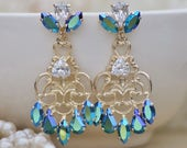 STUNNING Emerald AB Golden Filigree Drop Earrings,Large Filigree Chandelier,Swarovski Rhinestone Crystal Earring,Stud Post,Bridal,Weddings