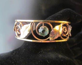 Vintage Krementz Cuff Bracelet, Leaf Design Blue Rhinestone