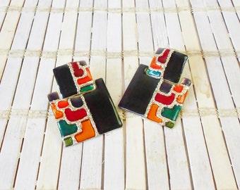 Vtg Art Deco Inspired Color Block Earrings, Clip On, Signed, Don Lin, Mod, Square earrings, 1980's style, Jewel Tones, Black enamel, Runway