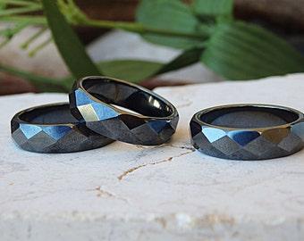 Hematite ring, Gemstone ring, Stone ring, Gray ring, Size 9 ring, Band ring, Set of 4 rings, Stacker ring, Stacking band, Stackable toe ring