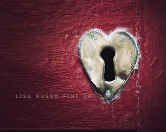 Valentine's Day Gift, Red Heart Red Heart Picture or Canvas Art, Dublin Ireland Print, Romantic Bedroom Decor, Red Valentine Heart Print.