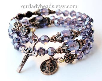 Rosary Bracelet Wrap•Rosary Wrap Bracelet•Purple Crystal Wrist Rosary•Mother's Day Gift•Religious Gift•Confirmation Gift•Godmother Gift•#597