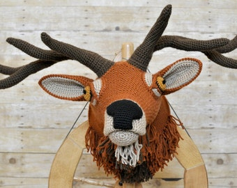 Faux Taxidermy Bull Elk Crocheted Trophy Mount