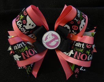 Ghostbusters inspired hairbow, large 5 inch boutique bow