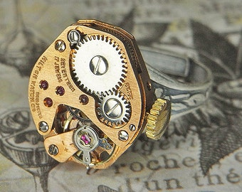Women's Steampunk Ring - Torch SOLDERED - Vintage Rose Gold HILTON Watch Movement w Crown - Anniversary Birthday Gift - Great Colors