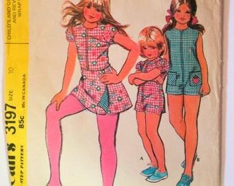 Vintage McCall's Pattern Girls Size 10 jumper 1970s Reversible Wrap Skirt