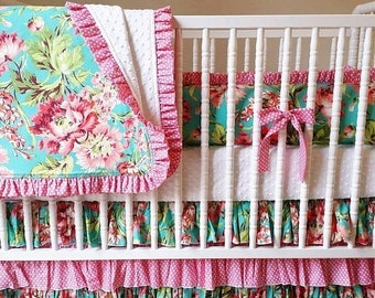 SPRING CLEANING SALE--- Made to Order- 4 piece Crib Bedding Set- Girl Baby Bedding Set- Bliss Bouquet