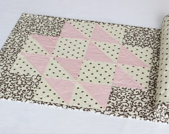 Pink Quilted Table Runner, Reversible Polka Dot Table Topper