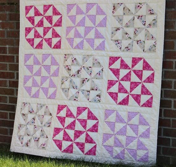 Handmade Pink Patchwork Throw Quilt