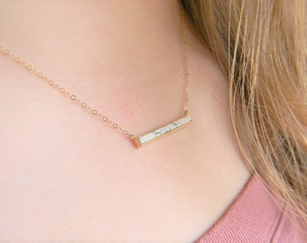 Howlite Bar Necklace Dainty Bar Layering Necklace Howlite Jewelry  Gift For Her