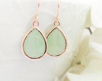 Rose Gold Earrings - Mint  Earrings - Rose Gold Bridesmaid Earrings -  Wedding  Earrings - Bridesmaid Gift - Dangle Earrings - Gift Idea
