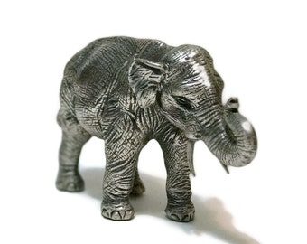 Vintage Peltro Italy Pewter Paperweight ELEPHANT Figurine trunk up, Lucky