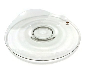 "Vintage Fostoria Contour Glass 13 3/4"" Torte Plate Serving Platter, mid century modernist original label"