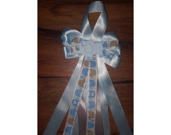 25 Custom baby shower 2 corsages  blue  elephant  capias/ pin ons
