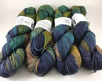 Jasper Silk Yak DK, Hand Dyed Yarn, DK weight, Superwash Merino,, Yak, Silk,  Number 3, 8 ply, Hand dyed, Light Worsted, Bright Copper Kettl